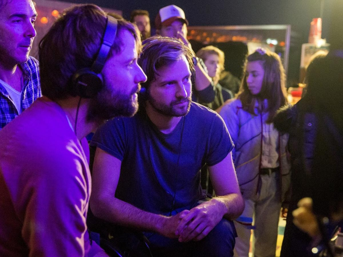 The Duffer brothers collaborate on the set of Stranger Things 2.