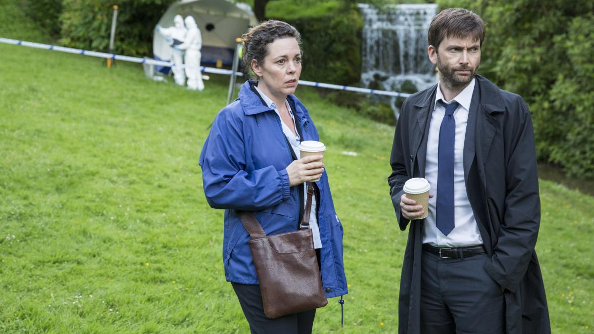 Olivia Colman and David Tennant play detectives in a small seaside English hamlet in Broadchurch.