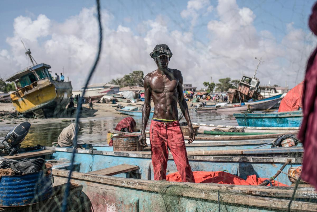 A fisherman at the port of Bosaso, Somalia.