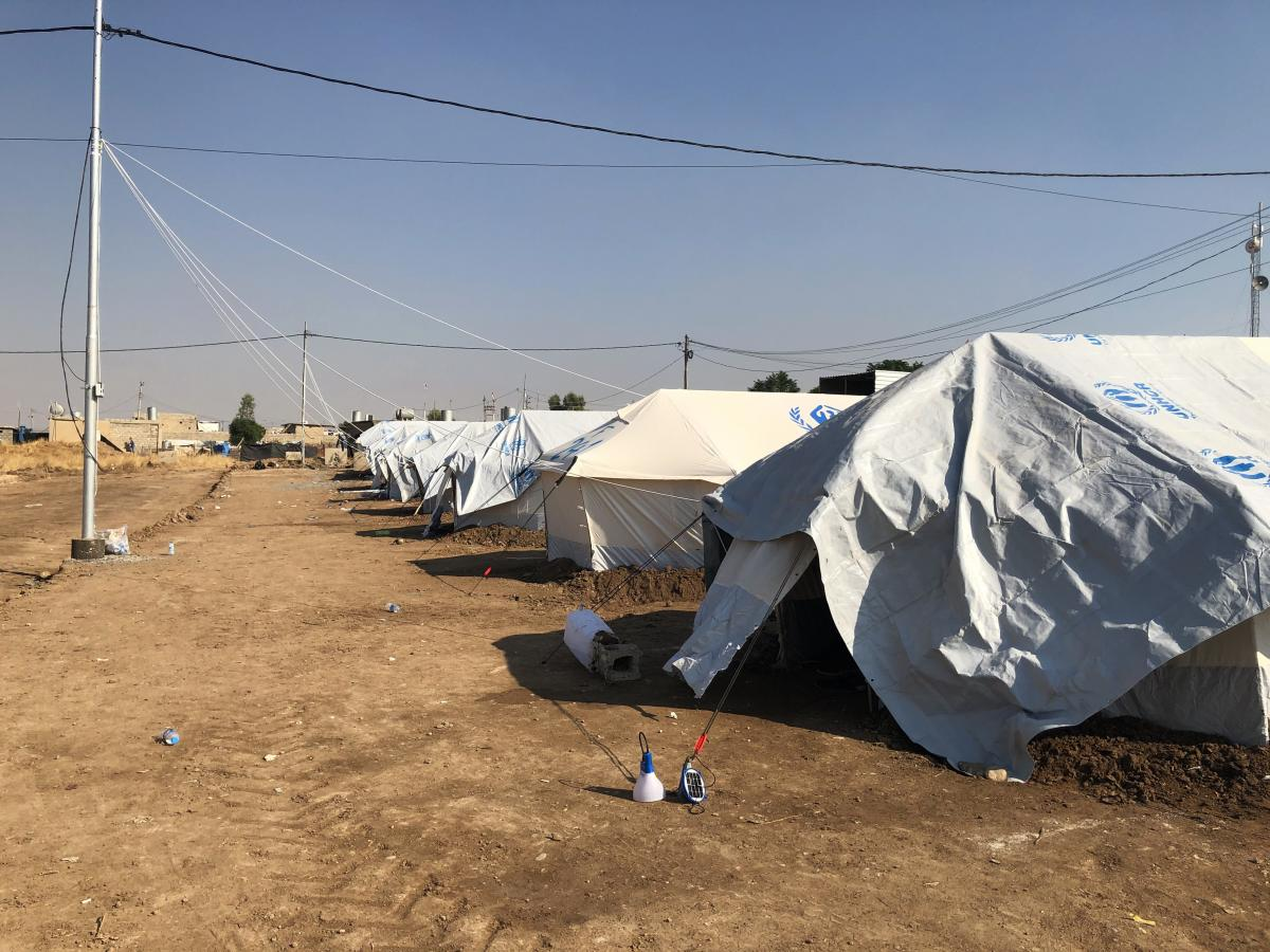White tents shelter refugees at the Gawilan camp.