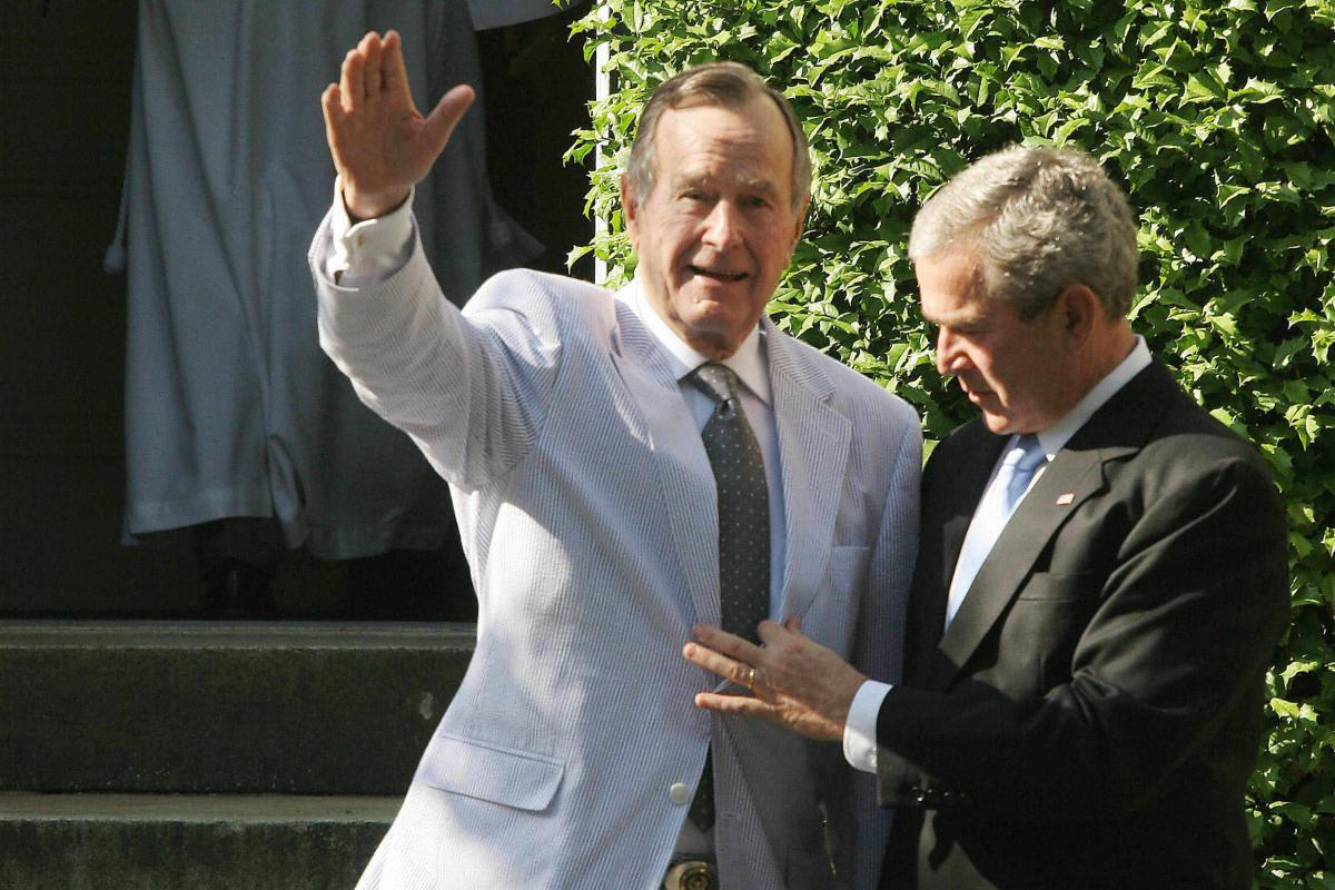 Seersucker isn't just a Capitol Hill favorite in Washington. Former Presidents George W. Bush (right) and George H.W. Bush joke about the elder Bush's seersucker suit as they leave the wedding of a relative in May 2006.