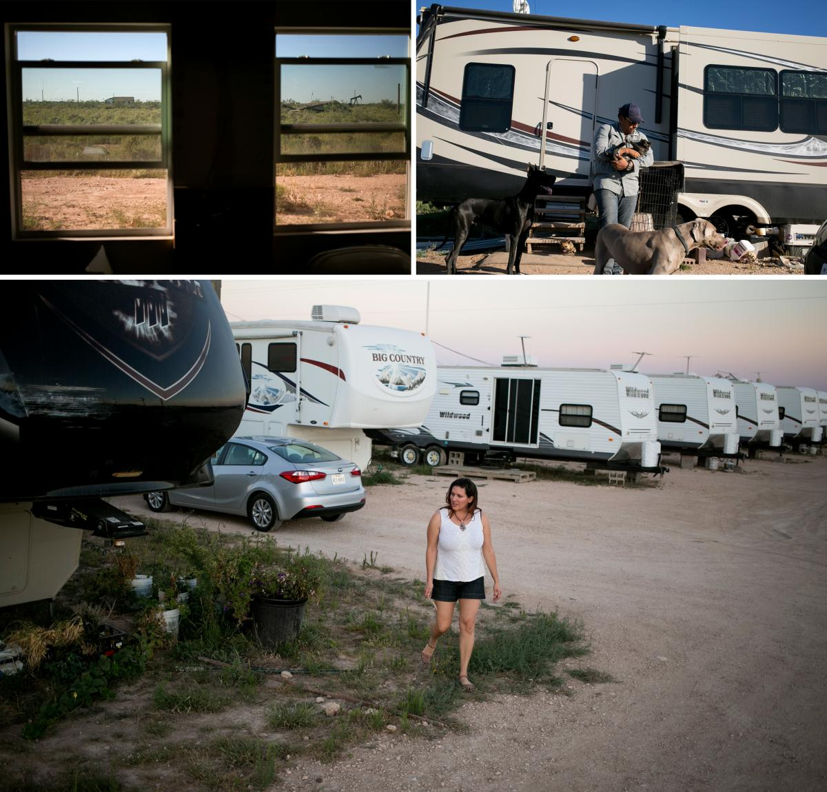 Jesse Murillo (top right) and Megan Newman (bottom) opened the Out West RV park, nestled between Midland and Odessa, as a long-term investment. Since opening the park, the couple have been living in an RV as they build their own home.