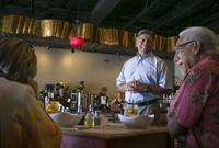 Mayor Jerry Morales greets customers at Mulberry Cafe, one of three restaurants his family owns in Midland.