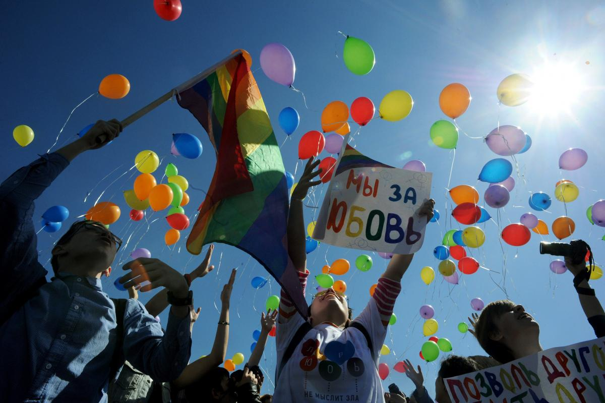 Supporters of LGBT rights in St. Petersburg, Russia, release balloons as part of a demonstration to mark World Day Against Homophobia and Transphobia in May 2014.