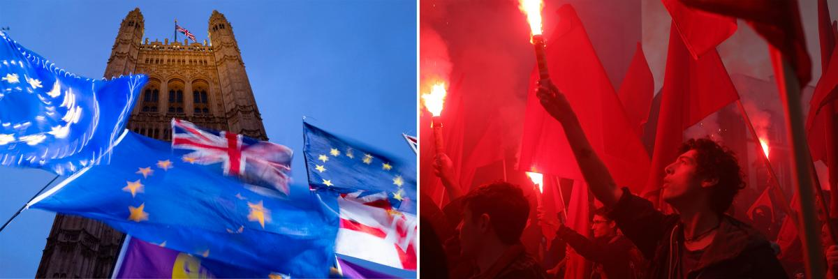 Left: European Union and British flags are flown in pro- and anti-Brexit protests outside Britain's Parliament in October 2019. Right: Demonstrators hold flags and set off red flares during anti-Brexit and anti-austerity protests, as Britain's Conservativ