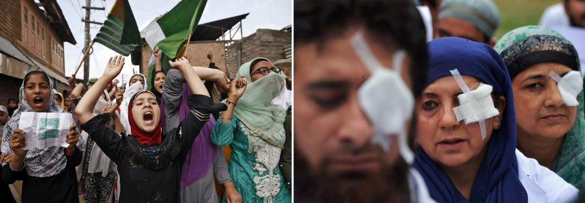 Left: Girls protest after Friday prayers in Srinagar, Indian-administered Kashmir, in September 2019. The Indian government revoked Kashmir's special status in August and shut down Internet access in much of the region. Right: At a hospital in Srinagar, d