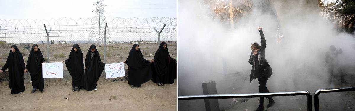 Left: Iranian students form a human chain during a protest to defend their country's nuclear program outside the Fordo nuclear facility in Qom, November 2013. Right: An Iranian woman raises her fist amid teargas at the University of Tehran during a protes