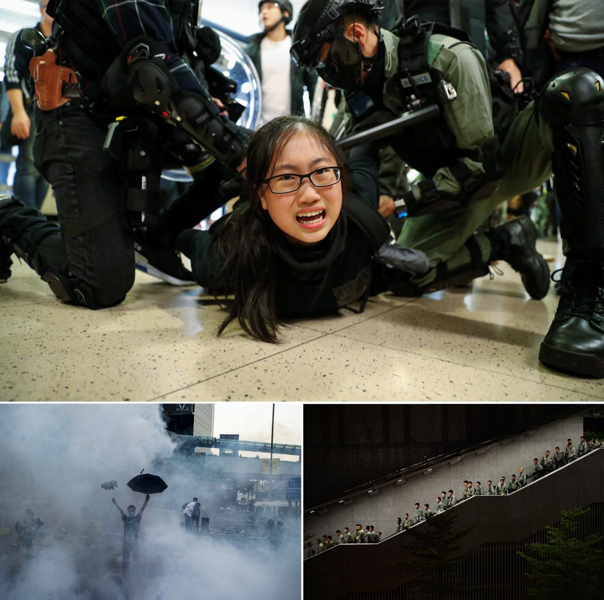 Top: Police officers detain an anti-government protester in Hong Kong in December 2019. Left: Police fire tear gas toward protesters, who are using umbrellas for protection near Hong Kong government headquarters in September 2014. Right: Hong Kong police