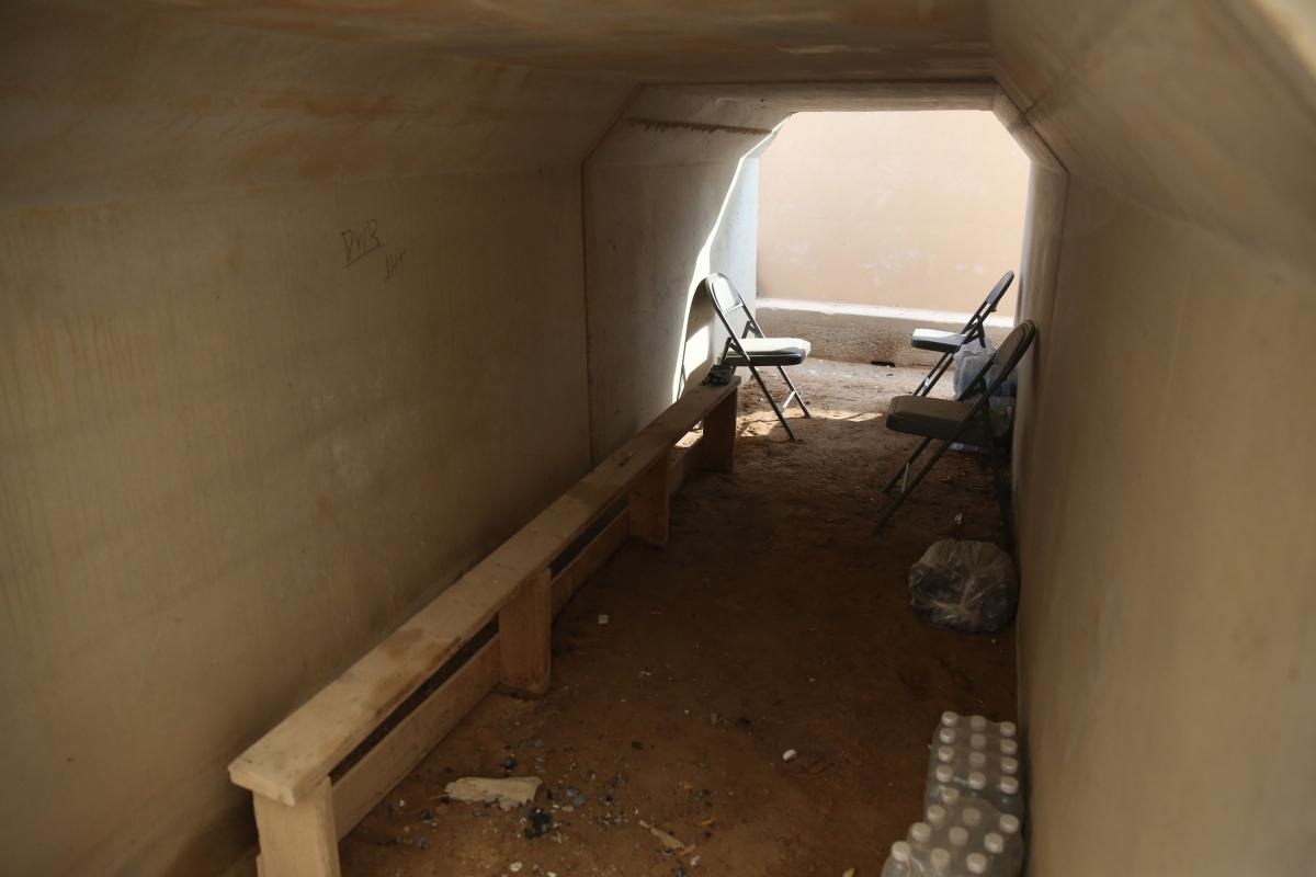 One of the bunkers where military personnel took shelter during the almost two-hour long barrage of Iranian missiles.