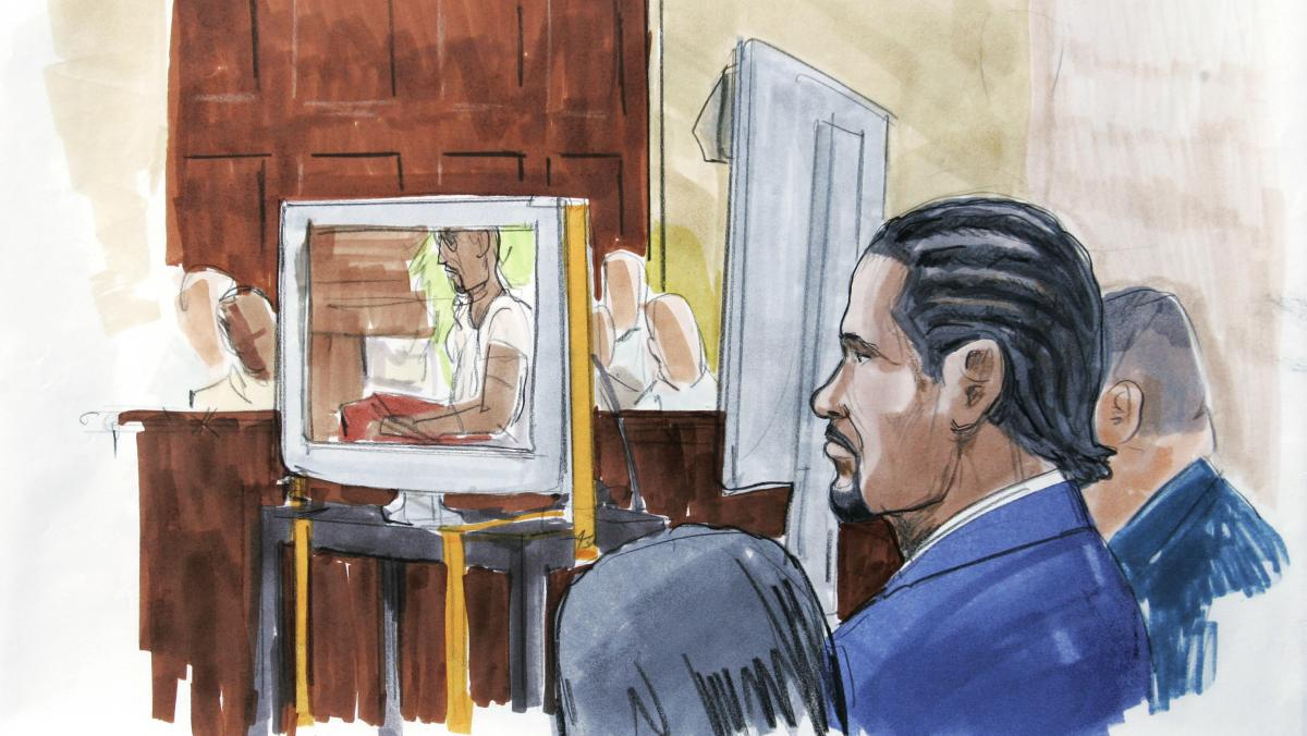 An artist's rendering shows R. Kelly watching in court as prosecutors play the sex tape at the center of his 2008 child pornography trial in Chicago, just hours after opening statements in which they accused the R&B singer of choreographing and starring i