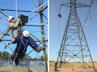 """Utility workers use an APA-5 Atlas Powered Ascender to practice a pick-off operation, quickly rescuing a lineman who had """"fallen"""" from his position on a high voltage transmission line."""