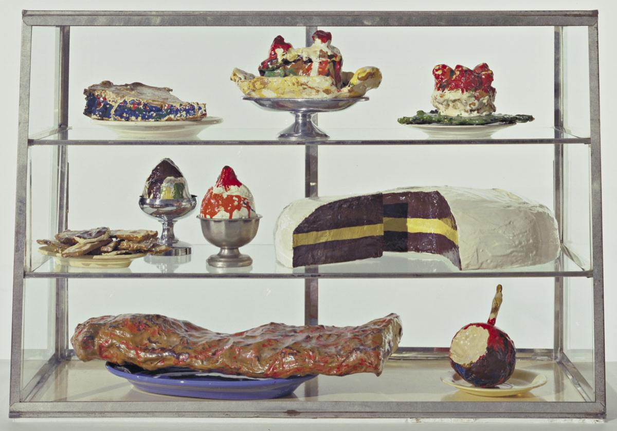 Oldenburg's fascination with simple, everyday objects often led him to food as a subject, as with Pastry Case, I, 1961-62.