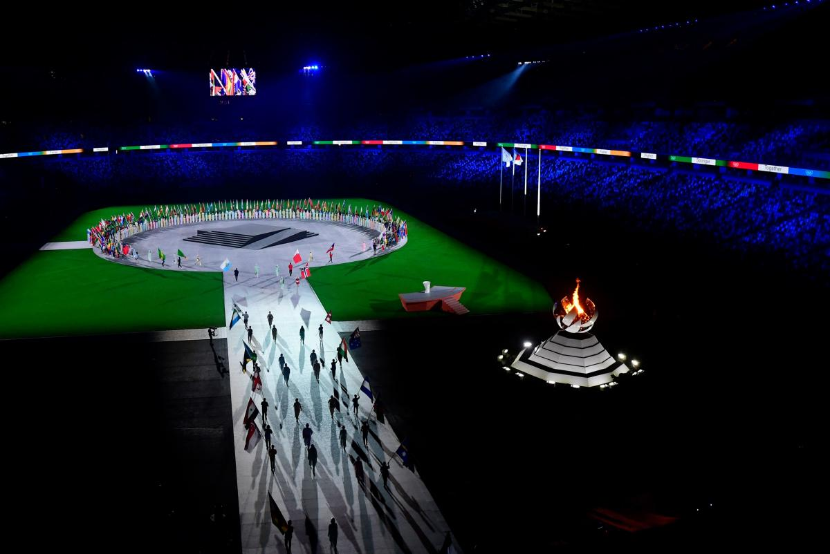 Flagbearers take part in the closing ceremony of the Tokyo 2020 Olympic Games.
