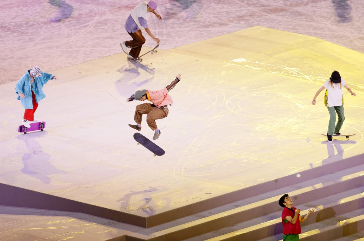 Skateboarders perform during the Closing Ceremony of the Tokyo 2020 Olympic Games.