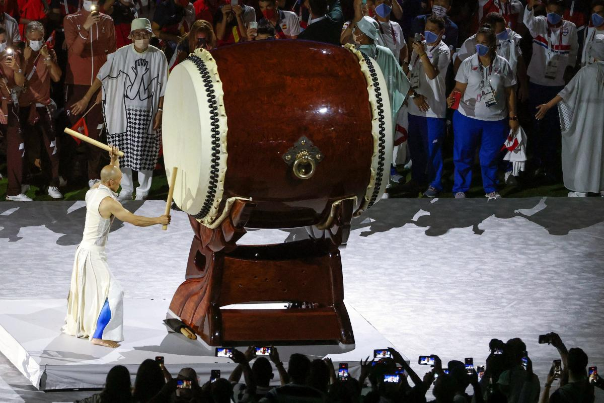 A drummer performs Japan's Taiko drumming.
