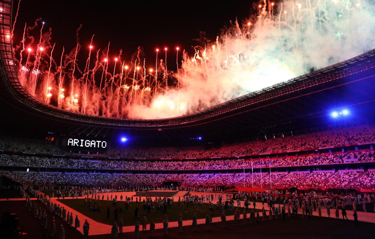 Fireworks are set off to end the Tokyo 2020 Olympic Games.