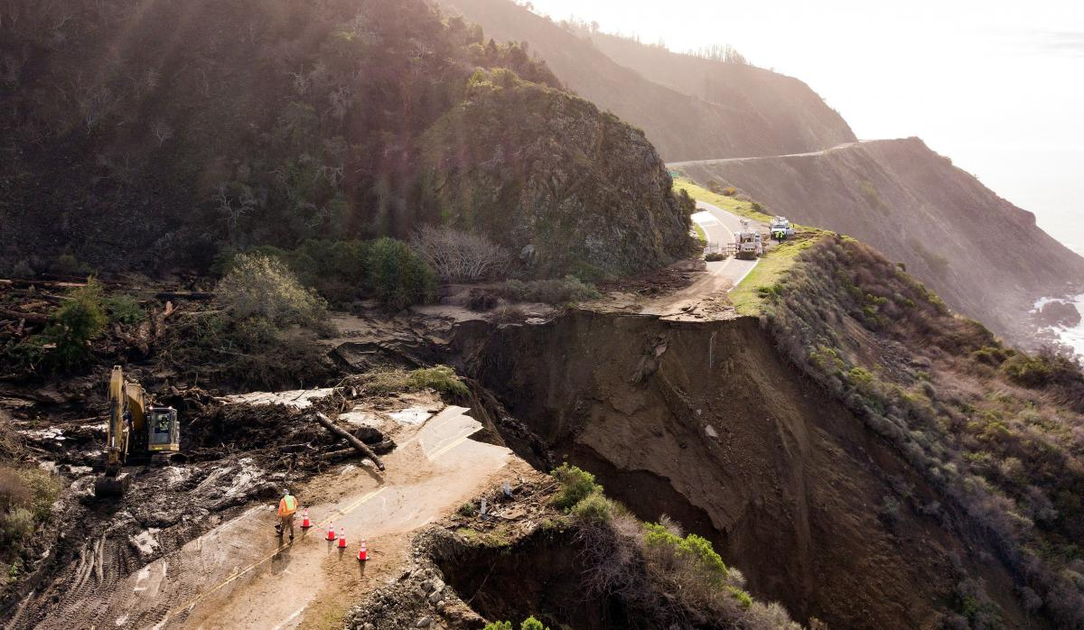 Construction crews work on a section of Highway 1, which collapsed into the Pacific Ocean near Big Sur, Calif., in late January.