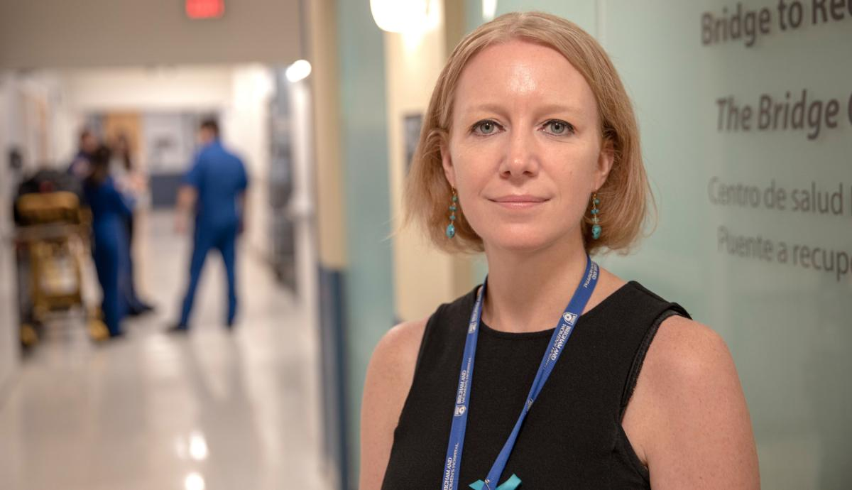 """Dr. Christin Price runs the Bridge Clinic at Brigham and Women's Hospital in Boston. """"A lot of people did sort of look aghast,"""" Price says, when she and her colleagues first suggested their patients could handle getting IV treatments at home."""