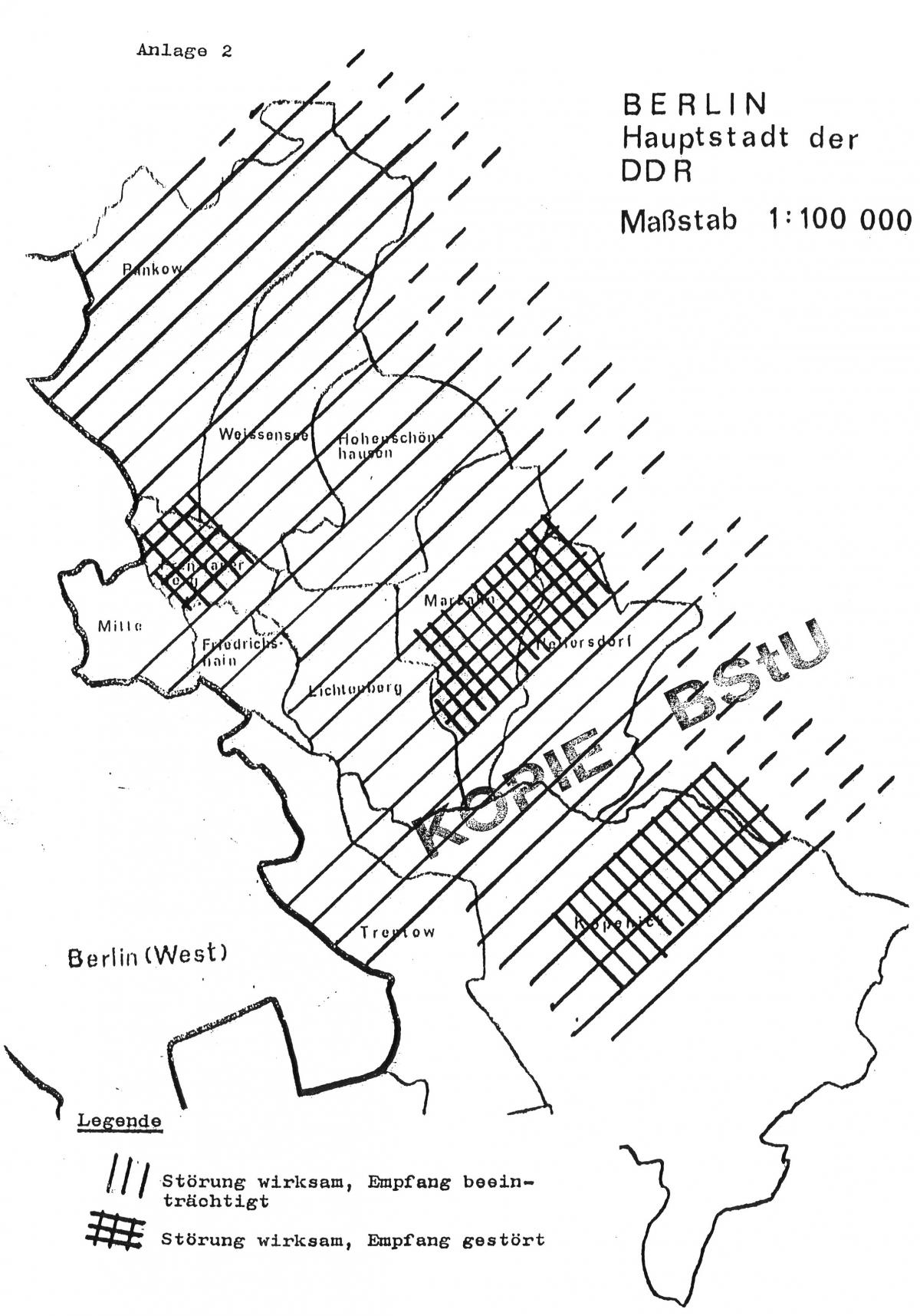 This Map By East Germanys Stasi Secret Police Illustrates Their Jamming Campaign Against The Dissident Radio