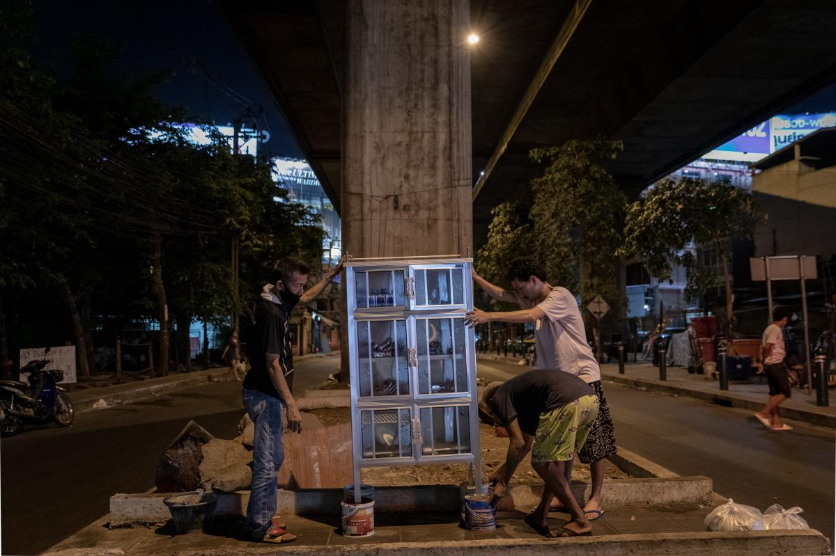 A community food pantry is installed under an expressway in the Din Daeng area of Bangkok. The community pantry, with food donated by citizens, was started by a volunteer group called Little Bricks and modeled after Little Free Pantries, founded by Jessic