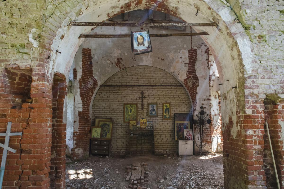 The interior of a dilapidated church in a nearby village. During the communist era, most churches were closed. While many have been restored, village churches often remain in ruins.