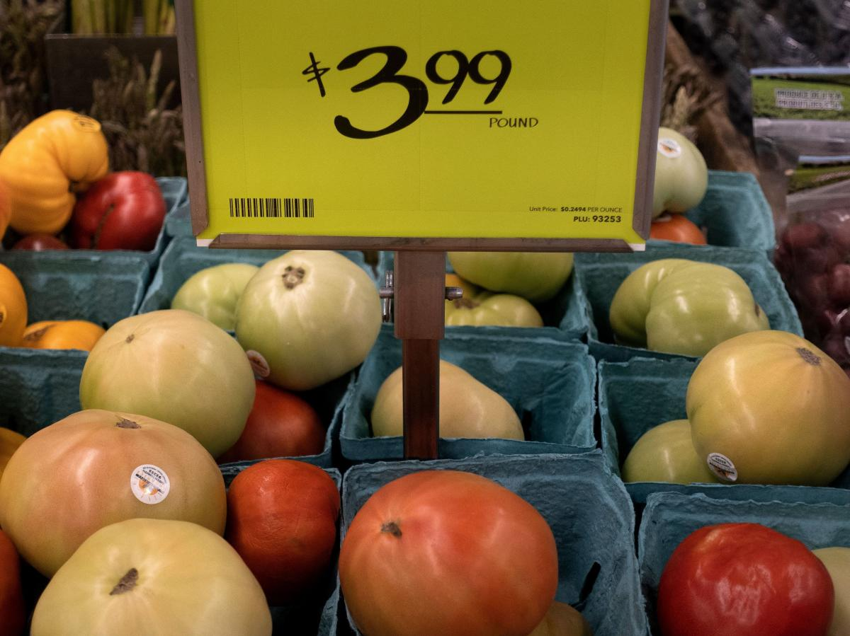 Fruits and vegetable are displayed at an area grocery store in Washington, D.C., on Aug. 12. Inflation has surged this year, although the Federal Reserve continues to believe the spike will be temporary.