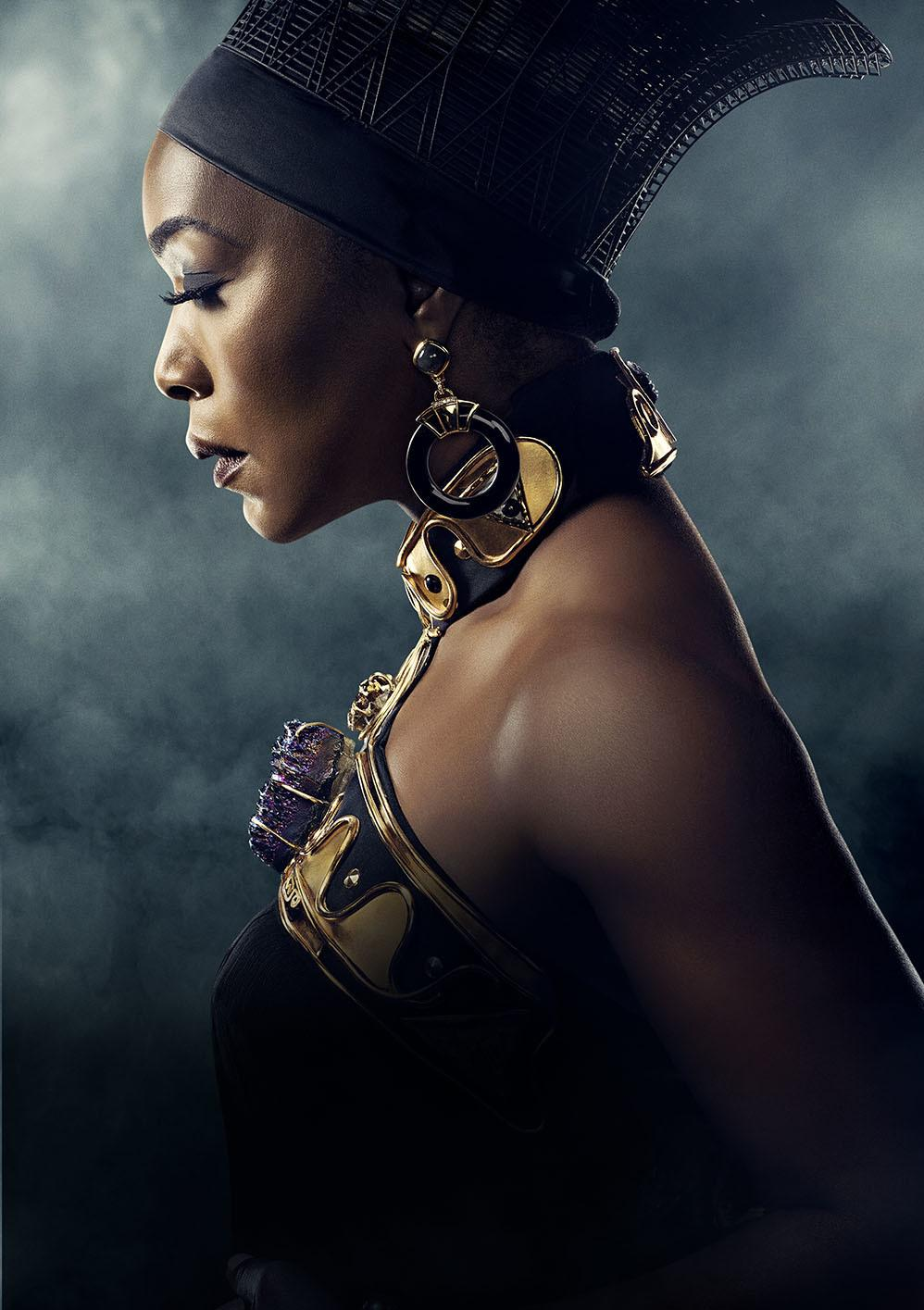 "Black Panther costume designer Ruth Carter ""really wanted something that was very, very strong,"" Fletcher says of the necklace she designed for Angela Bassett's character, Ramonda."