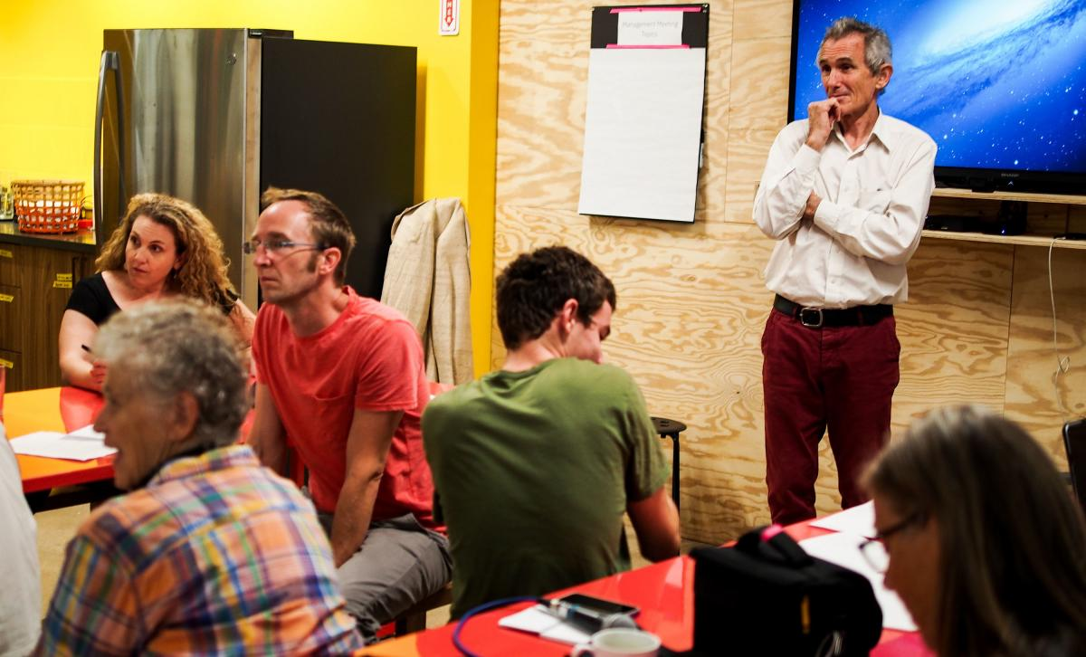 Richard McLachlan, a member of the climate group Extinction Rebellion, teaches a workshop in Brooklyn to prepare budding proselytizers to deliver their own subway climate talks.