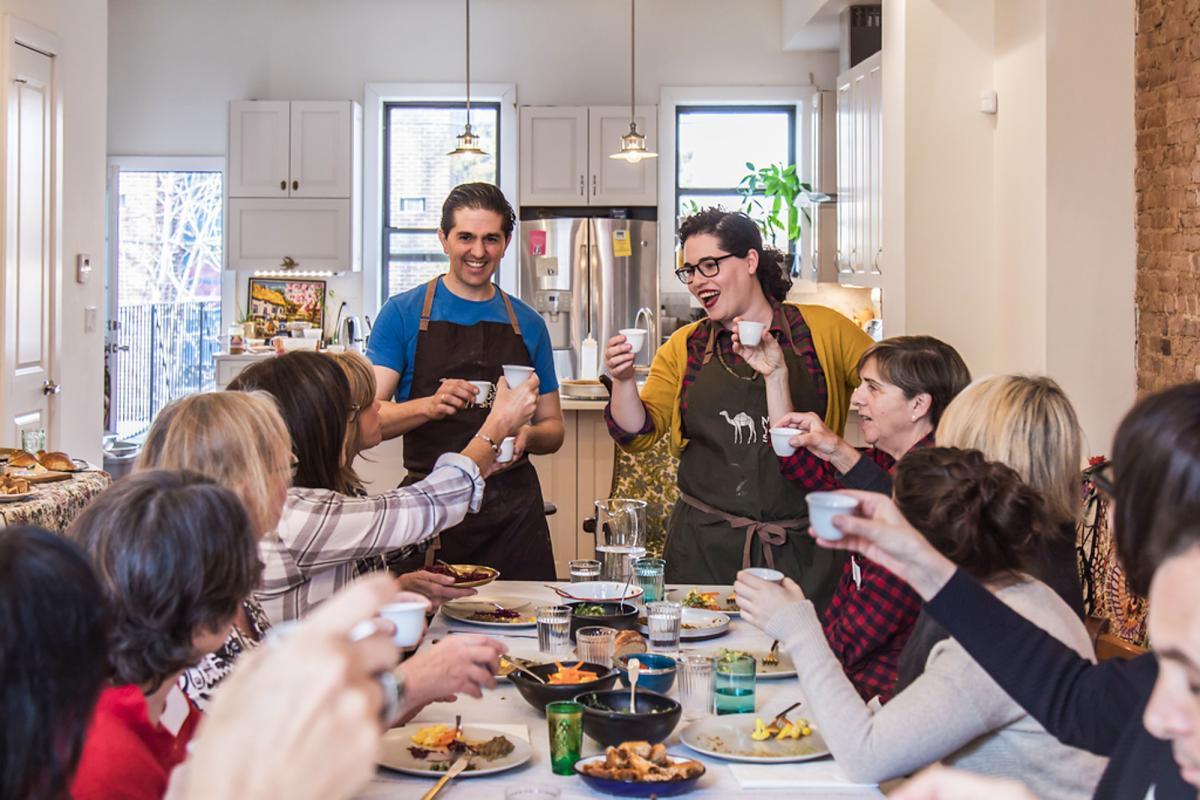 Ron and Leetal Arazi kick off a NY Shuk community dinner.