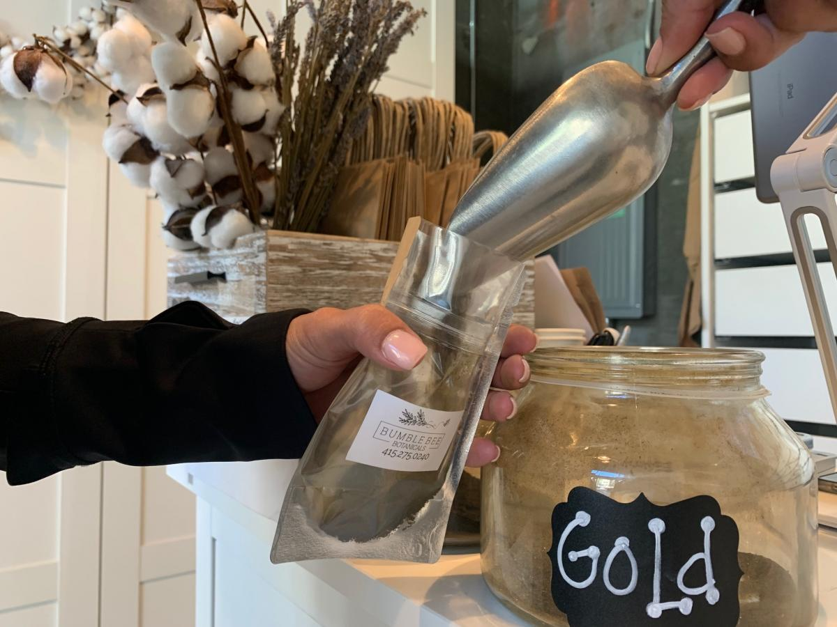 """Gold Bali is a strain of kratom sold at Bumble Bee Botanicals in San Francisco. """"It almost feels like you're having just a little glass of wine,"""" Kline says of kratom. """"It's really relaxing."""""""