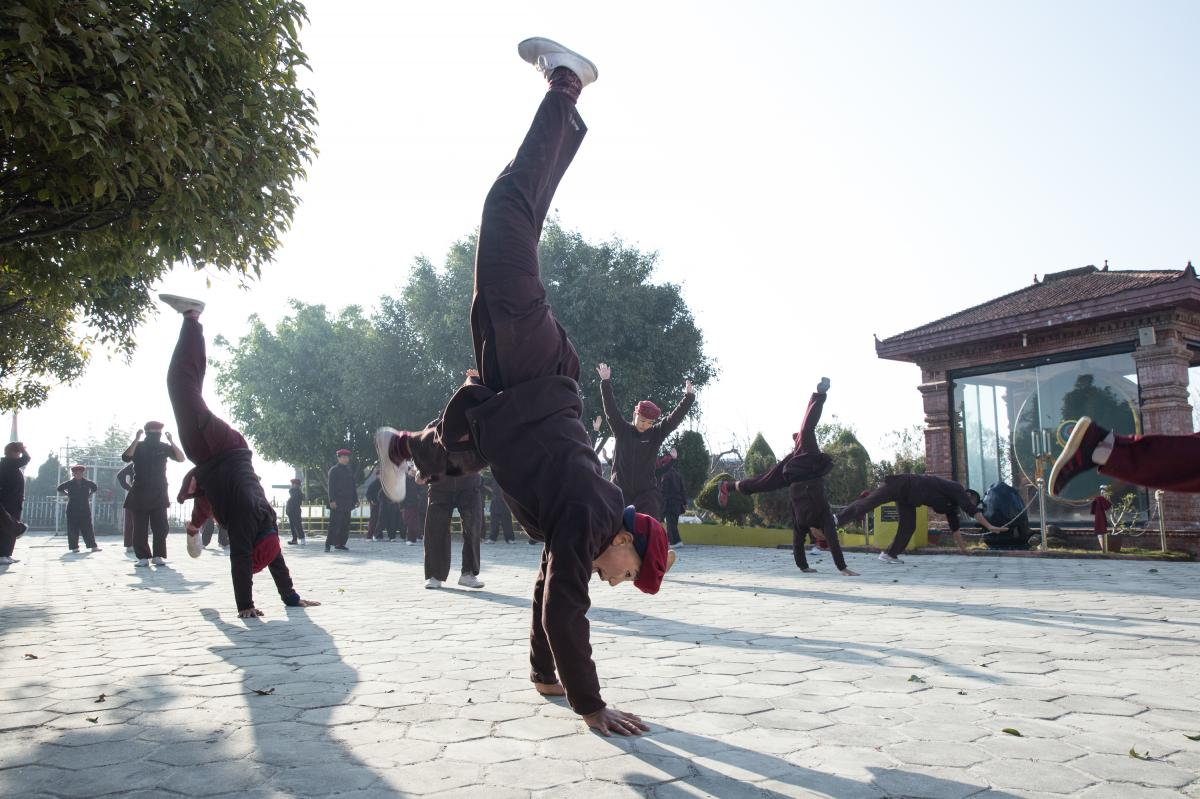 Nuns practice kung fu as a part of their daily routine at the Druk Amitabha Mountain nunnery in Kathmandu, Nepal.