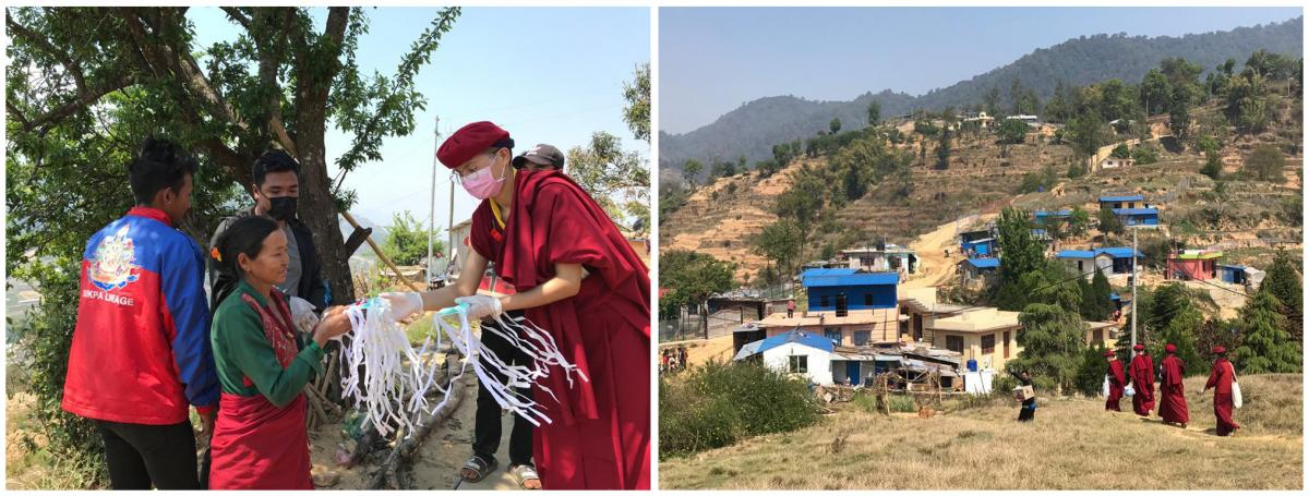 The nuns have played a role in addressing the coronavirus pandemic. Left: Delivering face masks and soap to at-risk communities in Kathmandu, Nepal, in April. They teach about the importance of handwashing and social distancing. Right: The nuns helped reb