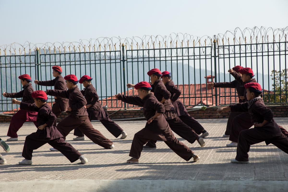 A kung fu practice session.