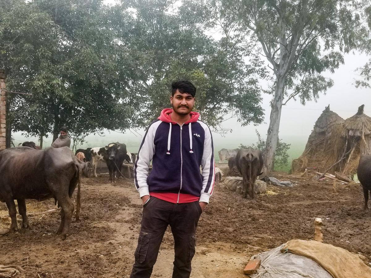 Amandeep Singh, 19, at his family's farm in rural Punjab, India. Singh paid a smuggler about $22,000 to help him cross the U.S.-Mexico border, but he was deported from Mexico in October.