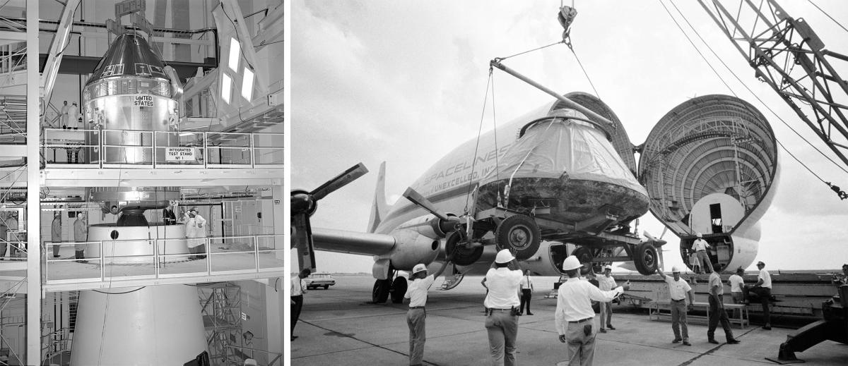 (Left) The Apollo 11 command and service modules are mated to the Saturn V lunar module adapter. (Right) The Apollo 11 spacecraft command module is loaded aboard a Super Guppy aircraft at Ellington Air Force Base for shipment to North American Rockwell Co