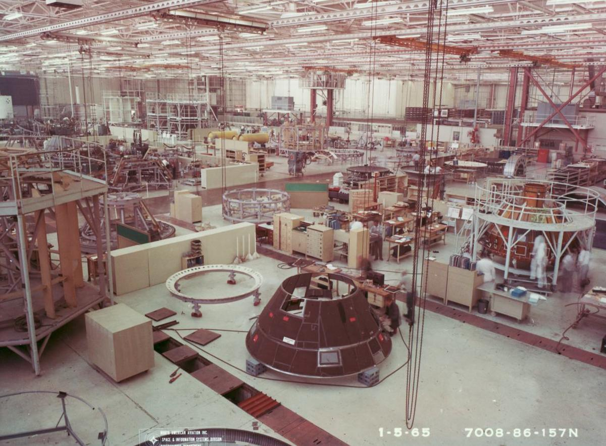 Apollo spacecraft assembly at the North American Aviation facility in Downey, Calif., mid-1960s.