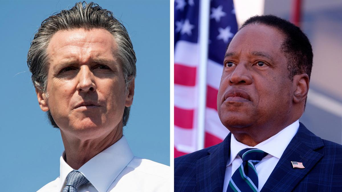 Left: California Governor Gavin Newsom speaks during a campaign rally against his recall election at the IBEW-NECA Joint Apprenticeship Training Center in San Leandro, California, September 8. Right: Republican gubernatorial candidate Larry Elder speaks t