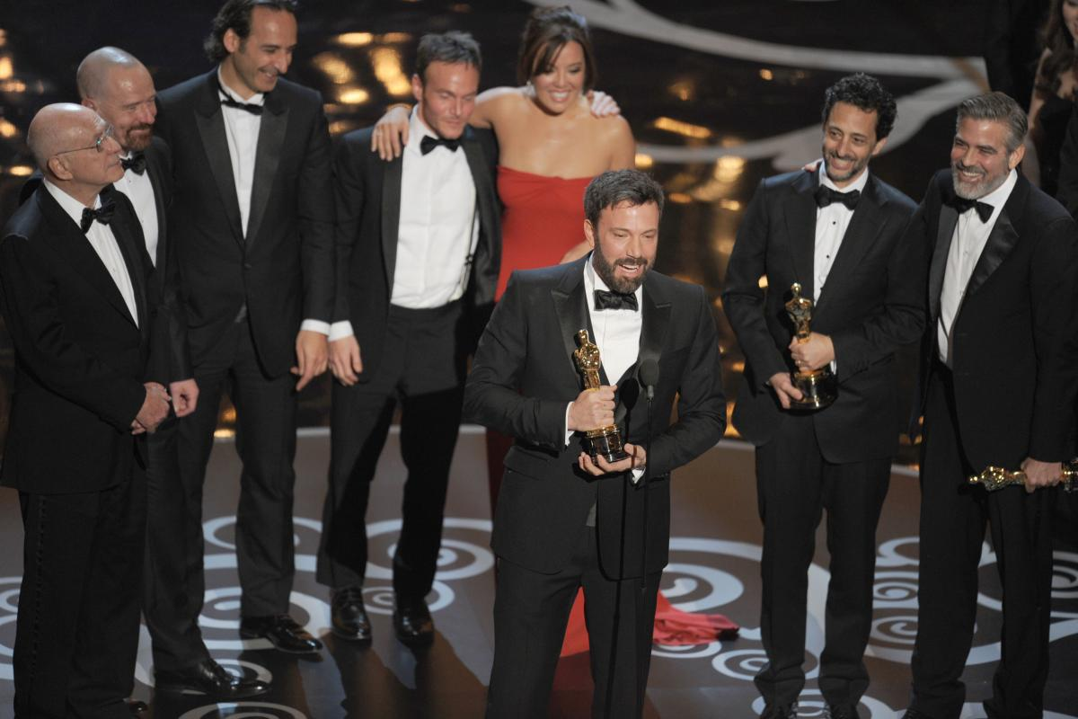 """Ben Affleck accepts the Oscar for best picture for """"Argo."""""""