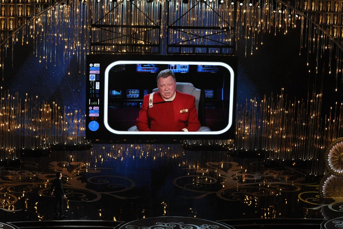 """William Shatner makes a cameo appearance as Captain Kirk from """"Star Trek"""" during the opening ceremony."""