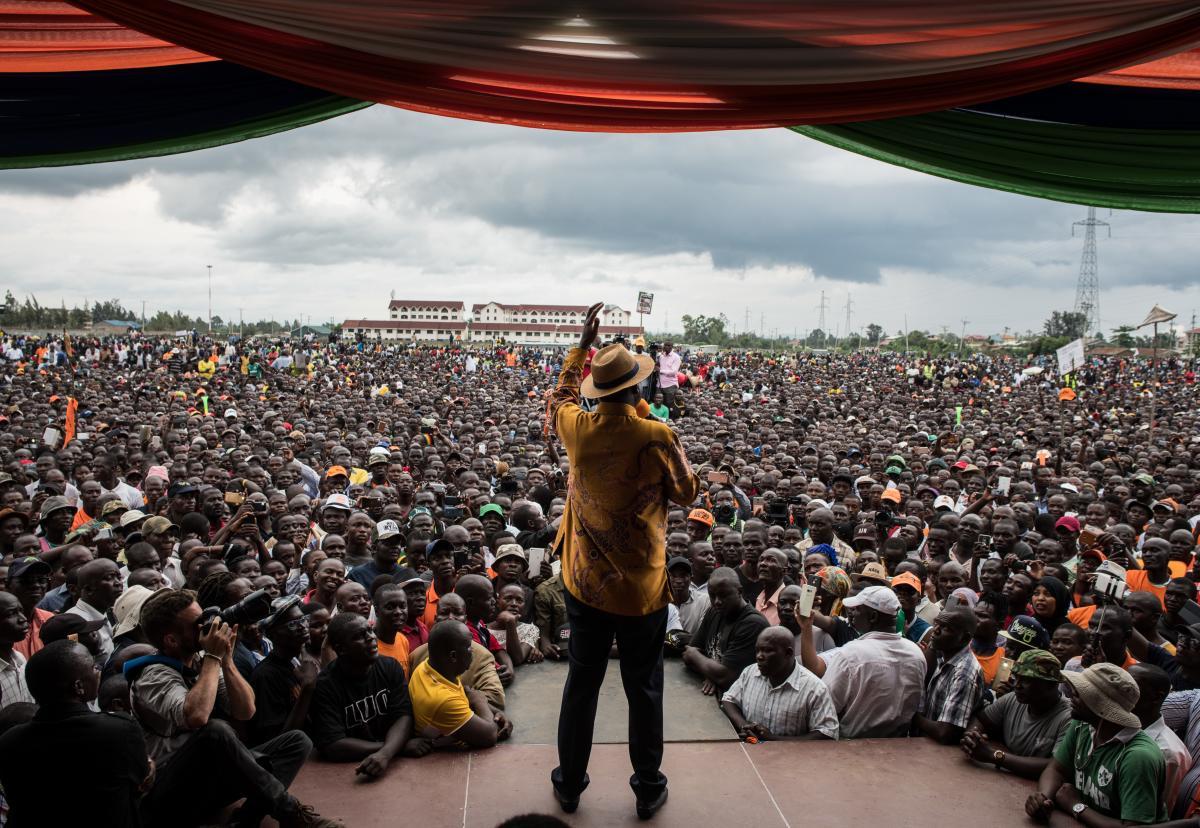 Kenyan opposition leader Raila Odinga speaks at a rally in October in Kisumu, Kenya.
