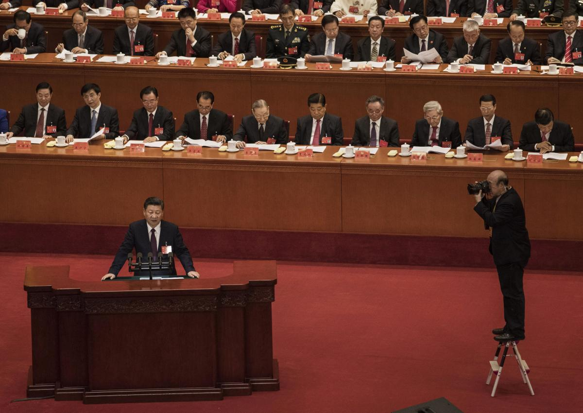 Chinese President Xi Jinping speaks at the opening session of the 19th Communist Party Congress at the Great Hall of the People on Oct. 18 in Beijing.