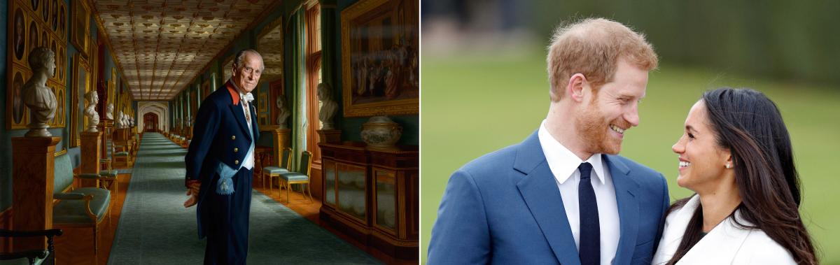 (Left) A portrait of Prince Philip, Duke of Edinburgh, hangs at Windsor Castle. (Right) Prince Harry and Meghan Markle announced their engagement at Kensington Palace on Nov. 27.