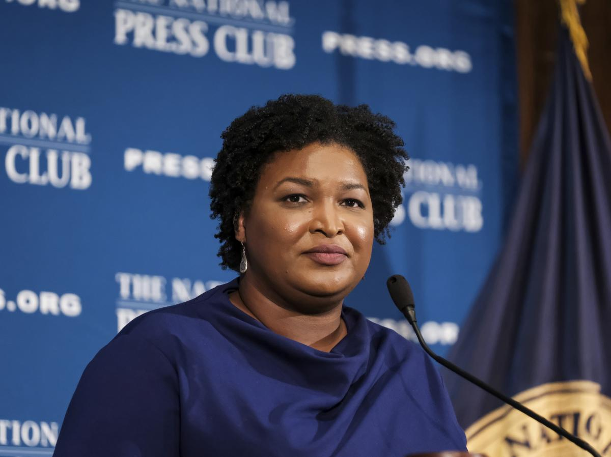 Former Georgia House Democratic Leader Stacey Abrams speaks at the National Press Club in Washington in 2019.