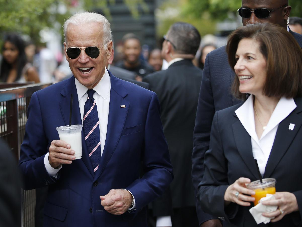 Biden visits an outdoor mall with then-Senate candidate Catherine Cortez Masto in 2016 in Las Vegas.