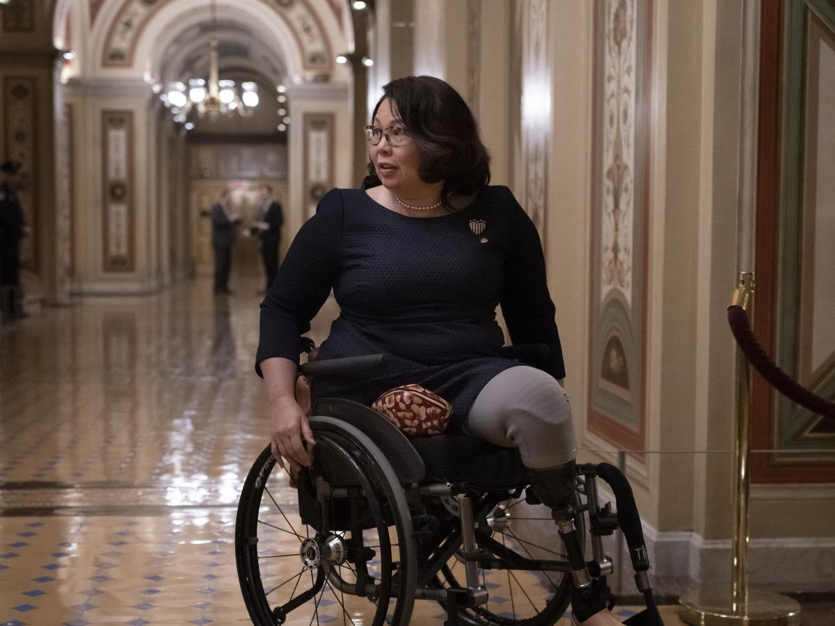 Sen. Tammy Duckworth, D-Ill., is seen leaving the Capitol earlier this year.