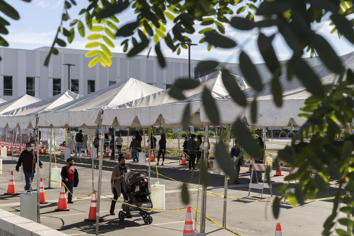 A COVID-19 testing site is set up near Martin Luther King Jr. Community Hospital. The hospital is in Willowbrook, an unincorporated part of South Los Angeles sandwiched between Compton and Watts.