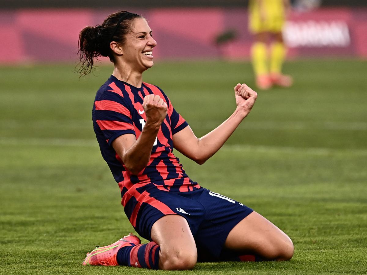 USA forward Carli Lloyd celebrates scoring during the  women's bronze medal match between Australia and the United States at Ibaraki Kashima Stadium on Thursday.