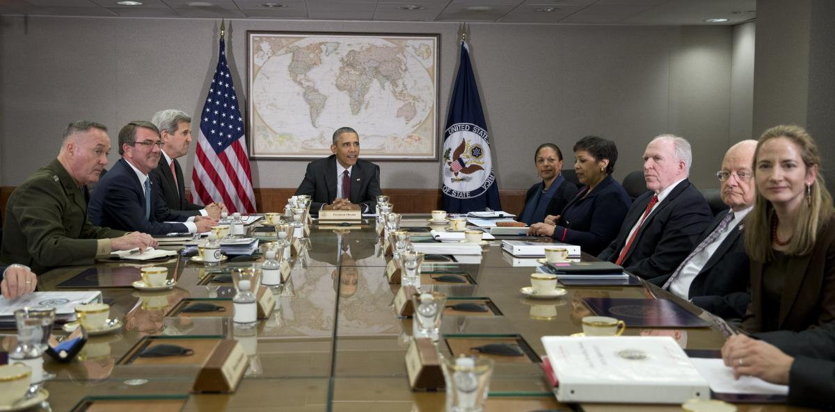 President Barack Obama hosts a meeting of his National Security Council in 2016. Haines, then deputy national security adviser, is on the far right.
