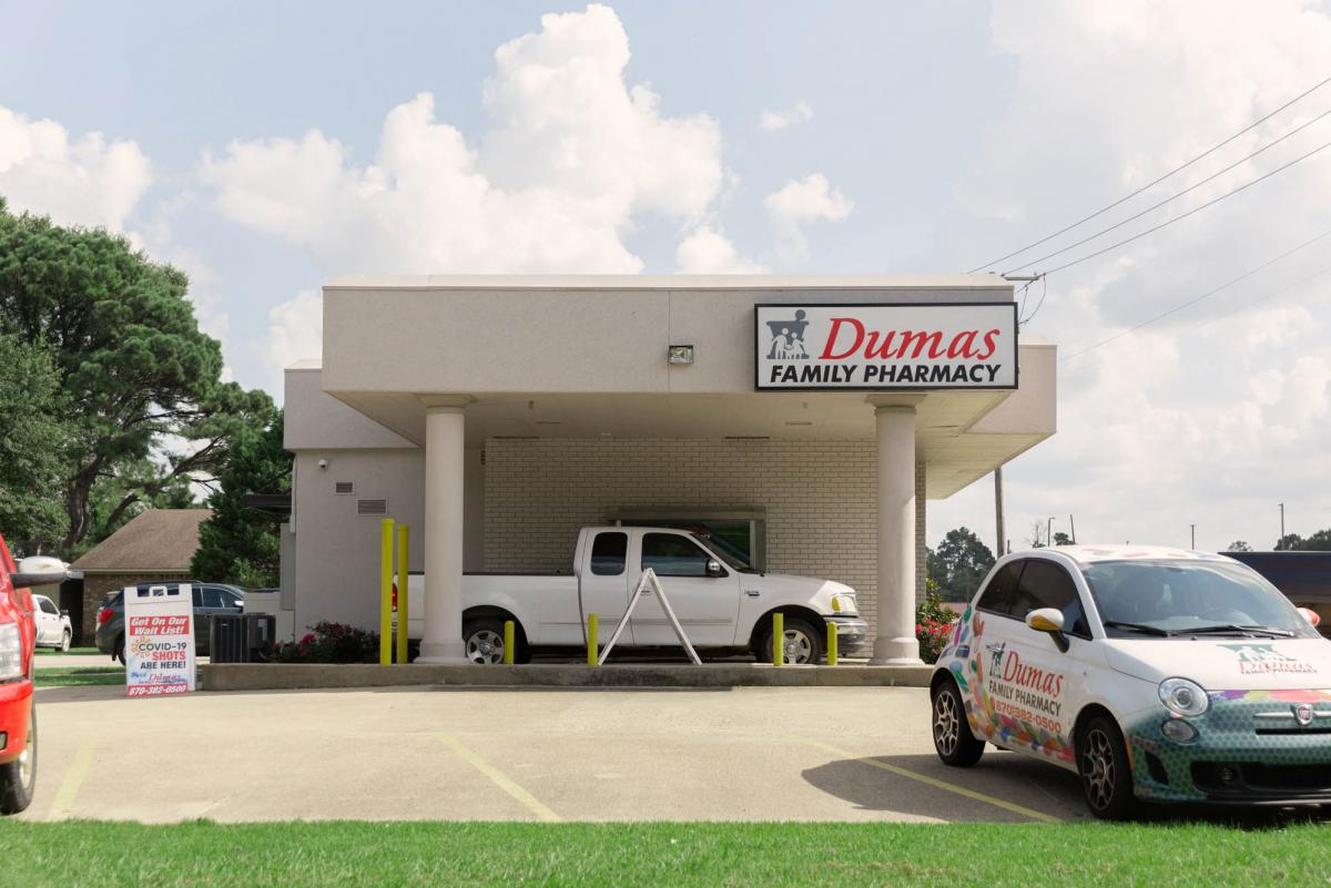 The Dumas Family Pharmacy promotes COVID-19 vaccines in Dumas, Ark., a small city in the southeast delta region of the state.