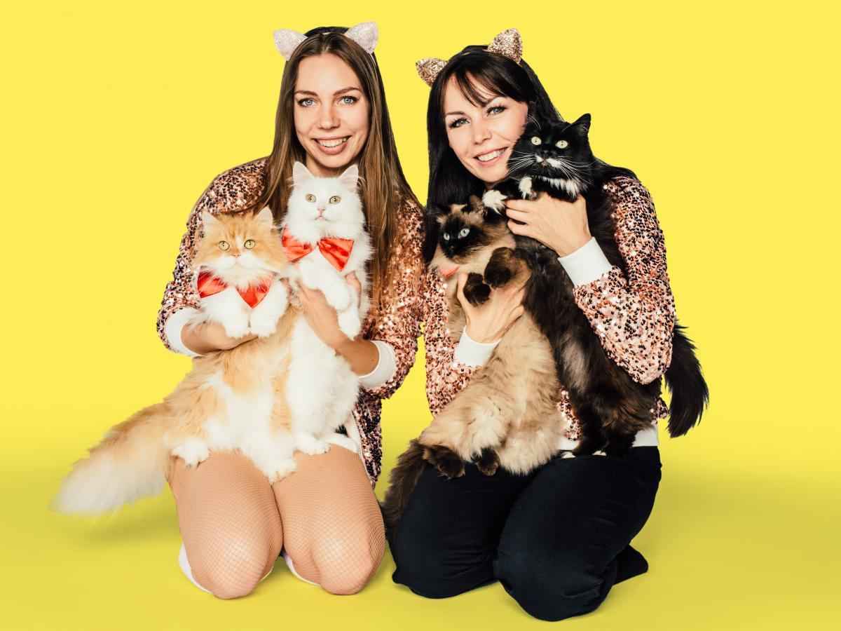 Maryna (left) and Svitlana are the human trainers of the acrobatic feline troupe The Savitsky Cats.